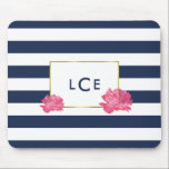 """Navy Stripe &amp; Pink Peony Monogram Mousepad<br><div class=""""desc"""">This mousepad features a bold navy blue and white stripe background,  faux gold border,  and a pretty pink peony in soft watercolors. Coordinates with our Navy Stripe &amp; Pink Peony office supplies,  paper products,  and accessories. Customize with a monogram,  name or text of your choice!</div>"""