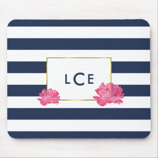 Navy Stripe & Pink Peony Monogram Mousepad