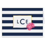 Navy Stripe & Pink Peony Monogram Note Cards