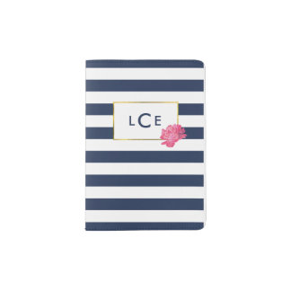 Navy Stripe & Pink Peony Monogram Passport Case