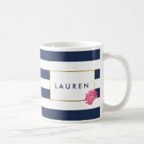 Navy Stripe & Pink Peony Personalized Mug