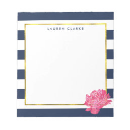 Navy Stripe & Pink Peony Personalized Notepad