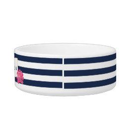 Navy Stripe & Pink Peony Personalized Pet Bowl