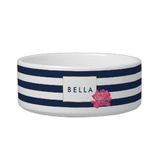 421623e676b1 Navy Stripe & Pink Peony Personalized Pet Bowl