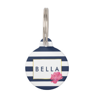 Navy Stripe & Pink Peony Personalized Pet Tag