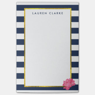 Navy Stripe & Pink Peony Personalized Post-it® Notes