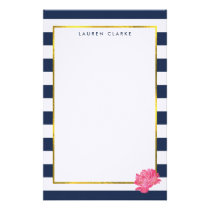 Navy Stripe & Pink Peony Personalized Stationery