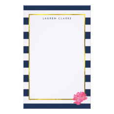 Navy Stripe & Pink Peony Personalized Stationery at Zazzle