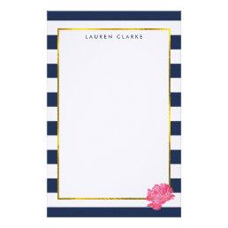 Navy Stripe & Pink Peony Personalized Stationery
