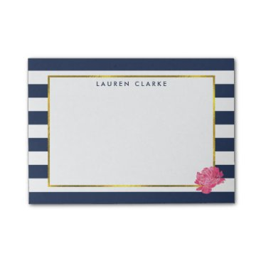 RedwoodAndVine Navy Stripe & Pink Peony Post-it Notes