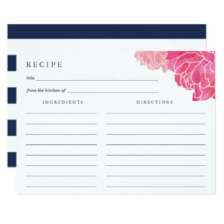 Navy Stripe & Pink Peony Recipe Card