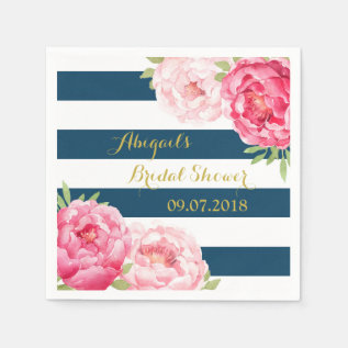 Navy Stripe Pink Watercolor Bridal Shower Napkins at Zazzle