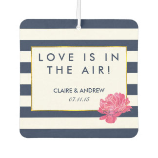Navy Stripe & Pink Wedding Favor Air Freshener