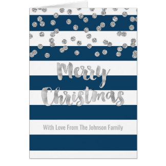 Navy Stripe Silver Confetti Family Merry Christmas Card