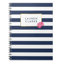 Navy Stripe & Watercolor Pink Peony Notebook