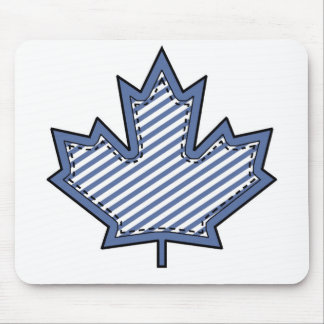 Navy Striped  Applique Stitched Maple Leaf Mouse Pad