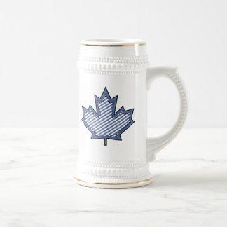 Navy Striped  Applique Stitched Maple Leaf 18 Oz Beer Stein