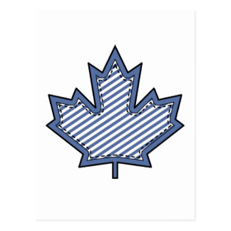 Navy Striped  Applique Stitched Maple Leaf Postcard