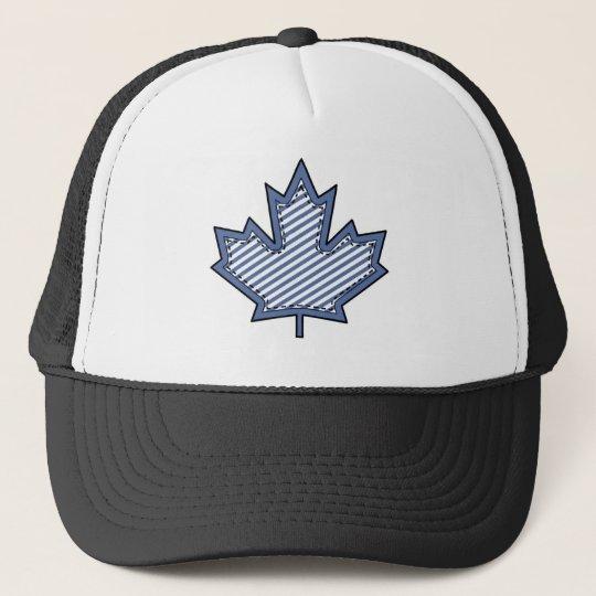 Navy Striped  Applique Stitched Maple Leaf Trucker Hat