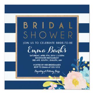 Navy Striped Floral Bridal Shower Invitation