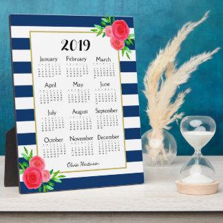 Navy Striped Floral Monogram 2019 Desk Calendar Plaque