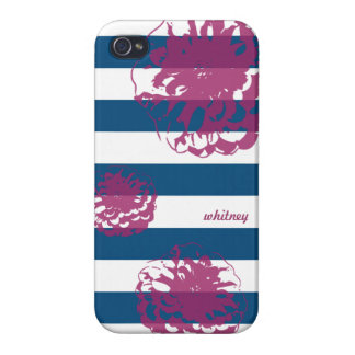 Navy Striped Fuschia Dahlia iPhone case iPhone 4/4S Cases