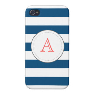 Navy Striped Mongram iPhone case Cover For iPhone 4