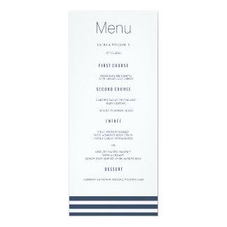 Navy Striped Wedding Dinner Menu Cards