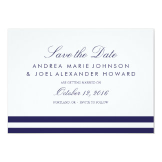 Navy Striped Wedding Save the Date Card