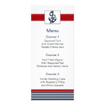 navy stripes, anchor, nautical menu cards