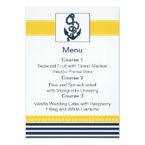 navy stripes,anchor, nautical menu cards