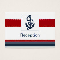 navy stripes, anchor, nautical Reception cards
