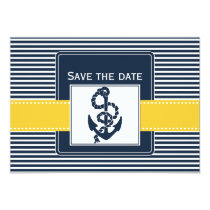 navy stripes, anchor, nautical save the date card