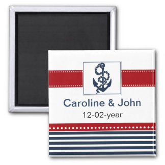 navy stripes, anchor, nautical save the date magnet