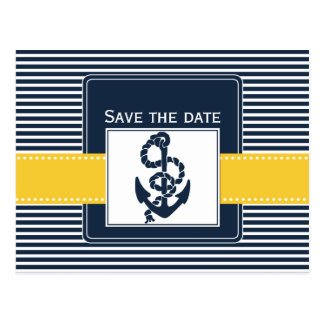 navy stripes,anchor, nautical save the date postcard