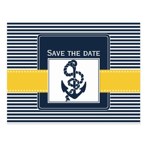 navy stripes,anchor, nautical save the date post cards
