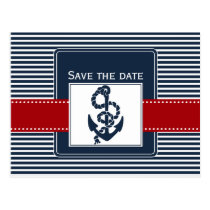 navy stripes, anchor, nautical save the date postcard
