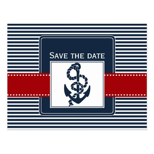 navy stripes, anchor, nautical save the date post cards