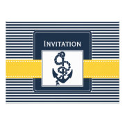 navy stripes and yellow anchor nautical wedding invites by mgdezigns