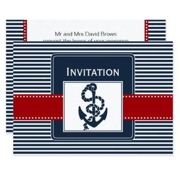 navy stripes, anchor, nautical wedding invites
