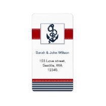 navy stripes, anchor, nautical wedding labels