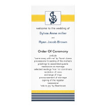 navy stripes, anchor, nautical wedding programs