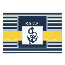 navy stripes,anchor, nautical wedding rsvp 3.5 x 5 card