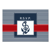 navy stripes, anchor nautical wedding rsvp 3.5 x 5 card