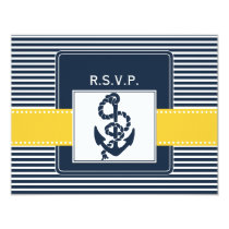 navy stripes, anchor, nautical wedding rsvp card
