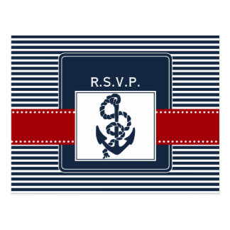 navy stripes, anchor, nautical wedding rsvp postcard
