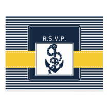 navy stripes, anchor, nautical wedding rsvp postcard