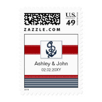 navy stripes, anchor, nautical wedding stamps