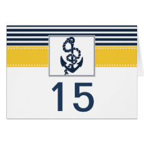navy stripes,anchor, nautical wedding table number card