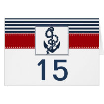 navy stripes, anchor nautical wedding table number card